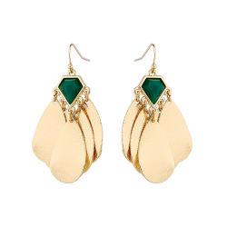 金によってめっきされる女性の創造的なスパンコールの宝石用原石のふさはホックのイヤリングをぶら下げる