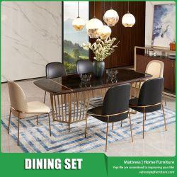 Rectángulo mesa de comedor Muebles de mármol de respaldo alto con silla de comedor en el diseño moderno