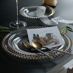 Commerce de gros 13pouces perles de verre clair chargeur de plaques d'or de mariage de chargeur