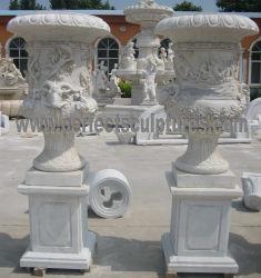 Jardín de esculturas de piedra tallada decorativo tallado en mármol Estatua de la sembradora de Flor de la urna para exteriores decoración (QFP328)