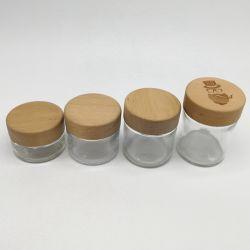 دورق زجاجي مخصص للأطفال سعة 50 مل 90 مل و120 مل مقاوم للرائحة ومخصص للأطفال مع غطاء CR مقاوم للأطفال من الخشب