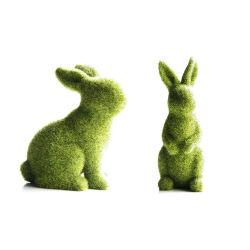 La Pascua Moss Bunny Rabbit Estatua de la Figurilla acudieron el Festival de Primavera decoraciones de Jardín