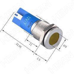 12 مم مؤشر المعادن المقاوم للصدأ للبيع الساخن IP67 12 فولت مصباح إشارة LED