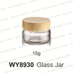 Vendeur de Hot Pot de crème faciale de verre produit 15g avec bouchon de transfert de l'eau Jarra De Vidro