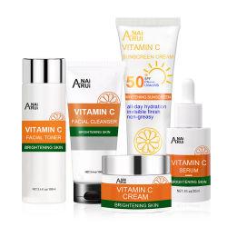 Kit de cuidados da pele vitamina C Anti Envelhecimento Embranquecimento Clarear enfrentar purificadores//Creme Toner/Soro/protectores solares de cuidados da pele conjunto de produtos de cuidados da pele