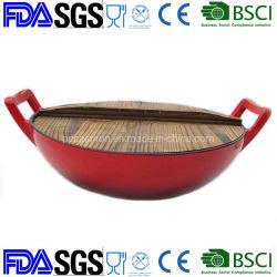 De Wok Cookware van het Gietijzer van het email Met Houten Dekking Dia 36cm