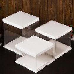 Food Grade blanco pastel de Pet transparente Caja 4-16 pulgadas Cake Box Logotipo personalizado, el Spot bienes con entrega rápida