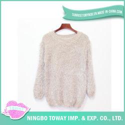 Дамы шерстяной ткани ручной работы из хлопка трикотажные зимний пуловер