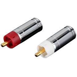 Los conectores de audio RCA macho Terminal enchufe del cable de altavoz chapado en oro.
