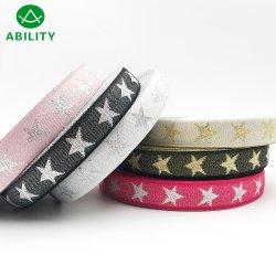 Gran cinta tejida de cinta metálica de diseño de las Estrellas de Oro