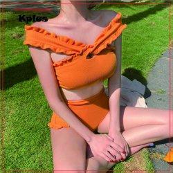 Stijl Geweven Hoge Taille Verstoorde Swimwear van Korea van de Riem van de voorraad de Dwars Voor Sexy (Stevige Kleur)