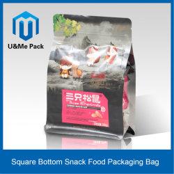 Verpakking van het Voedsel van de Snack van de Bodem van het Plastiek en van het Document van de steen de Vierkante met Ritssluiting