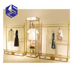 金の金属の陳列だなデザイン小売りの洋品店ラック表示家具