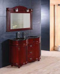 二重ガラス流しの純木の浴室の虚栄心