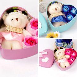 4 ПК/Set закрывается мыло с мало несут ванной закрывается мыло лепестков цветка с подарочной коробки на день рождения свадебный подарок любви на День святого Валентина