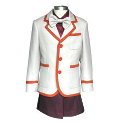 Al estilo japonés Beigd solo Breasted uniforme escolar de lana traje chaqueta con falda