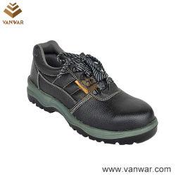 Sapatos de segurança de trabalho em couro preto com forro de malha aerada (WSS011)