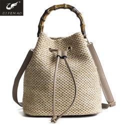 Hot Sale de la paille sac sac à main de godet de la poignée de bambou femmes sac sac à bandoulière d'été