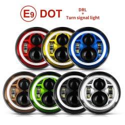 Emark and Dot Approved Angel Eye 75W Super Bright 7 지프 및 모터사이클용 인치 원형 LED 헤드라이트