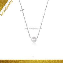 Jóias de jóias com diamantes Zircon 9K Gold Pearl Colar Pendente