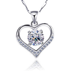 النساء Whosale Sterling Silver Zircon Heart Pendant عقد