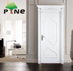 Elegante Royal Crown marfil de estilo clásico blanco pintado antiguos internos de Turquía de madera maciza o madera Villa Fuego Interior de la pintura de la puerta con marco de la corona