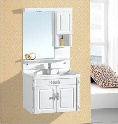 Het witte Kabinet van de Ijdelheid van de Badkamers van pvc met Zilveren Spiegel