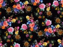 Flores preta em nylon impresso e calções de fabric (ASQ093)