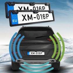 Автомобиль ЕС дважды номерного знака парковочный датчик радара видны передней и задней двери
