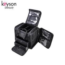 Tela suave bolsa de almacenamiento de cosmética Maquillador Organizador de la herramienta de caso con cajones