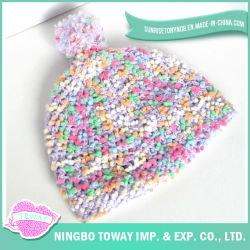 Señora Caliente Knitting Winter Hat del Hilado de los Pompoms de las Lanas de los Niños