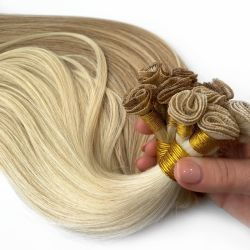 Mano atada trama doble pelo humano dibujado Remy Hair Extension