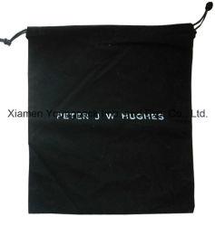 Мода пользовательские черный полированный хлопок флис ткань кулиской мешок для сбора пыли для сумки