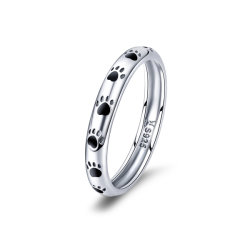宝石類のバレンタインデーのギフト925の純銀製女性の結婚指輪のためのスタック可能犬猫の足跡指リング