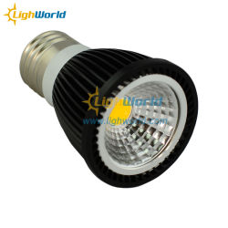 COB regulable de 5W E27 Foco LED MR16 Gu5.3 GU10 50W halógena equivalente/Sustitución negro/plata