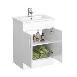 現代白い浴室の虚栄心のキャビネットヨーロッパ式600mm