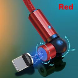 휴대폰 액세서리 마그네틱 USB 케이블 360도 3A 급속 충전 마이크로 LED USB 조명 전화 충전기 마그네틱 충전 케이블