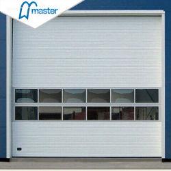 أبواب عطوفة صناعية معدنية تحمل تصنيفًا للخشب السكنى مع زجاج