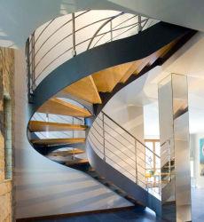 Moderna casa lugar pequeño de madera maciza de acero al carbono escaleras curvas