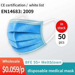 中国の白いリストのセリウムはPPE FFP2 Bfe99の使い捨て可能な医学のマスクを3つの層Earloopの病院のための使い捨て可能な防護マスク使い捨て可能な医学マスク承認した