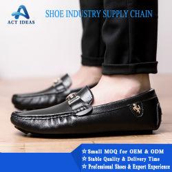Marca de moda calçados feitos por empresas de calçado de couro preto equipamento, Square Toe Sapata de couro