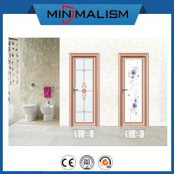 Kundenspezifische Vinyltoiletten-Tür-Preis-bereiftes Glas-Schwingen-Türen/schieben hinaus,/Öffnung
