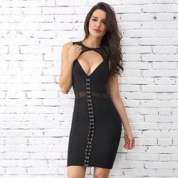 Robe de cocktail robe noire Mesdames robe de fête