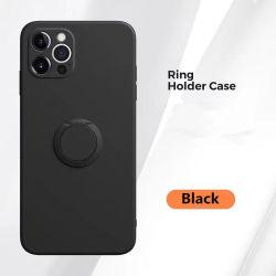 Ультра тонкий черный матовый жидкость мобильного телефона держатель крышки встроенная подставка пальцев 360 вращения кольца рукоятка магнитное крепление для салона автомобиля силиконовый чехол для iPhone 12 PRO Max