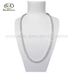 Sterling Silver Brass hielo fuera de la cadena de Tenis de Diamante CZ joyas collar de hiphop