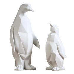Nordic Ins Origami Pingüino geométricos abstractos estatua de resina de escultura Animal adornos artesanías Casa de lujo de regalo decoración de escritorio