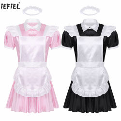 Os homens adultos Maid Traje Cosplay Outfit Sissy Fance vestido Cosplay