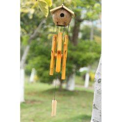 Artesanal exclusiva casa pequena forma Tons de aviso de vento de bambu sino de vento ornamentos de Jardim