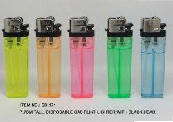 (Feld No.BD171) 7.7cm Disposable Gas Lighter With Black Head, Flint Lighter, Baida Lighter