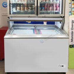طاقة تجارية فعالة 100 150 200 لتر صغيرة الحجم الجليد كريم عرض الصدر الثلاجة العميقة الثلاجة مع سطح زجاجي سعر البيع